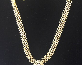 Beautiful American diamond necklace with faux crystals