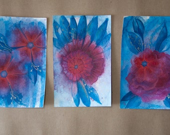 Fire Blossoms 3 Original Small Watercolour Paintings