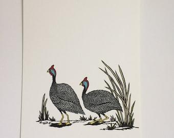 Guinea Fowl - Original handcut paper artwork