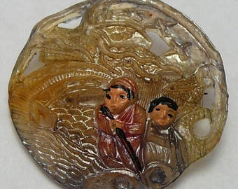 Vintage Chinese Export Brooch Molded Plastic Couple Tinted Painted Pin