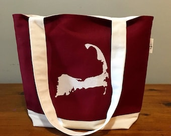 Cape Cod, Tote bag, Large cranberry red tote bag, Lined tote bag, Beach bag, Reusable tote, Everyday tote