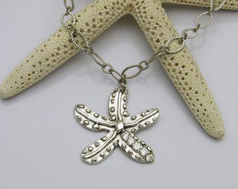 Silver Starfish Necklace, Blingy Starfish Necklace, Sparkly Starfish Necklace, Starfish Statement Necklace, Starfish Lover, Beach Lover