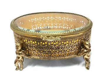 Ormolu Jewelry Casket with Cherubs