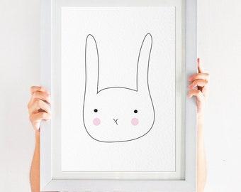Simple Children's Rabbit Illustration Print - A4 Instant Download PDF - Scandinavian style simplistic modern nursery art - modern wall art