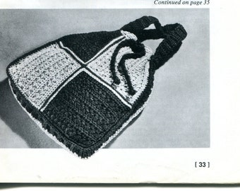 1960's Crocheted Tote Bag or Purse PDF Pattern Instant Download