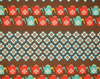 SALE - Ruby Star Shining - Water Can teal red by Melody Miller from Kokka Fabrics