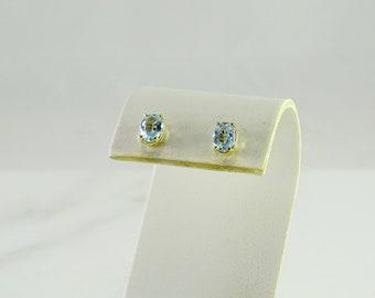 Blue Topaz 14K Gold Stud Earrings