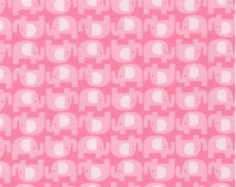 FLANNEL - Elephants on Pink (Spring) From Robert Kaufman's The Wild Bunch Flannel Collection from Pink Light Designs