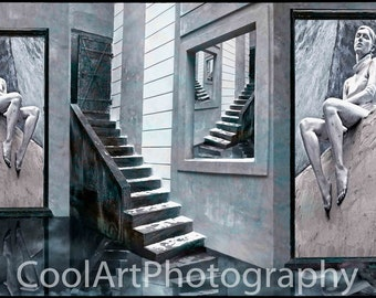 Step into my world. Fine art montage photograph. Surreal