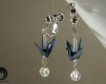 Origami Jewelry, Origami crane clip on earrings - dark blue and swarovski crystal