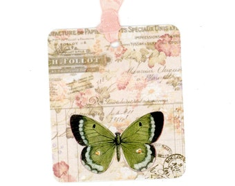 Vintage French Butterfly Gift Tags , Green Butterfly , Gift Bag Tags , Garden Party Tags , Shower Tags