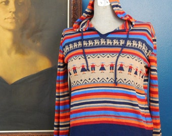 Vintage 70's Striped Sweater | Hoodie | South American Print | Size Extra Small