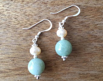 Jade Earrings, Cultured Pearl Earrings, Jade and Pearl Earrings, Green Jade Bead and Genuine Cultured Pearl 925 Sterling Silver Earrings