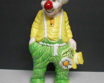 Vintage Large Ceramic Hobo Daisy Flower Circus Clown