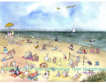 Funny Blank Greeting Card - Bunny Rabbit Greeting Card Handmade Card Humorous Animal illustration 'BEACH BLANKET BUNNIES'