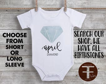 Birthstone ONESIE®, April Birthstone, Diamond Birthstone, Birthstone Baby, Custom Baby Gift, Newborn Gift, Coming Home Outfit Baby Girl