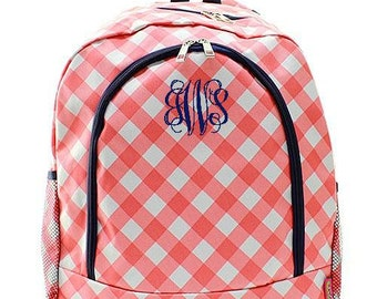Monogrammed Backpack Personalized Plaid Coral Backpack Personalized Backpack Kids Backpack Girls Backpack Boys Backpack