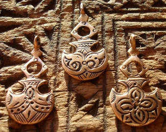 Copper Moroccan  small shiny hand engraved  rounded pendant with dots
