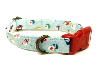 Sushi Time - Light Blue Sushi Sashimi Japanese Fish Organic Cotton CAT Collar - All Antique Metal Hardware