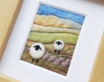 Sheep in an autumnal landscape - needle felted and hand embroidered fabric collage picture - miniature fibre art, felted wool art