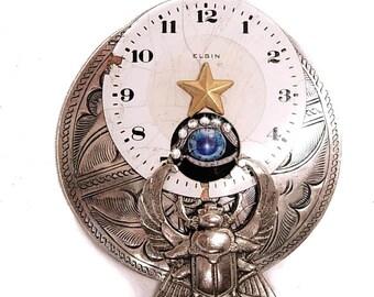 Nouveau Flair Steampunk vintage Airplane flying through time Eye Scarab Clock brooch