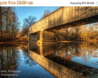 SALE 20% Off Covered Bridge Photograph Schofield Ford Covered Bridge Landscape Photography Reflection Bucks County Pennsylvania Autumn Tyler