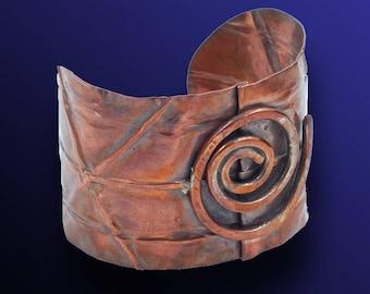 Copper Retro Vintage Style Handmade Scroll Cuff Bracelet