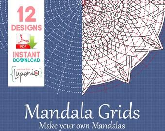 Mandala Grid Paper - 12 Different Grids