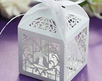 50x White Laser Cut Bird Cage  Love Birds Bomboniere Favour Boxes - Wedding Engagement Party Gift Boxes Chocalate Candy Boxes