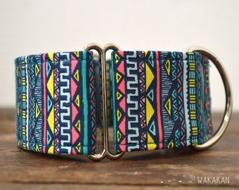 Martingale dog collar model Ethnic. Adjustable and handmade with 100% cotton fabric. Boho Mayan stripes. Wakakan