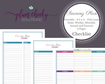 Cleaning Plan Printable Checklist Daily Weekly Monthly And Annual Cleaning Tasks Teal-Instant Download PDF
