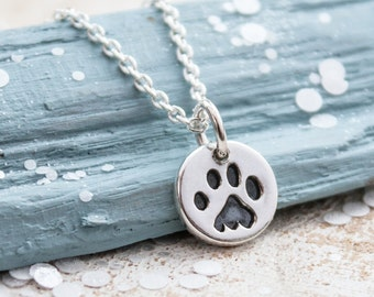 Paw Print Necklace, Paw Print Jewellery, Pawprint Necklace, Cat Paw Print Necklace, Dog Paw Print Necklace, Gift for Cat Lover, Dog Lover