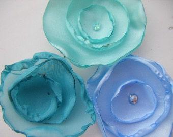 Blue, Green, Silver Mix silk organza fabric flower applique decoration flowers x 10 sew on, glue on
