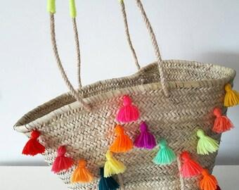 Panier de plage pompons multicolores