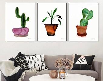 Set of 3 potted plants. Botanical print set. Cactus print. Potted plants decor. Set of 3 art prints. Botanical wall art. Affiche botanique