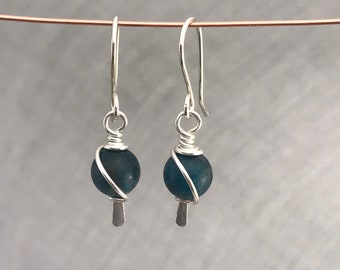 Sterling silver and apatite earrings ~apatite stone earrings ~ sterling silver earrings ~ handmade jewelry