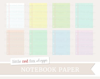Notebook Paper Clipart, School Clip Art Office Supplies Pastel Label Teacher Classroom Cute Digital Graphic Design Small Commercial Use