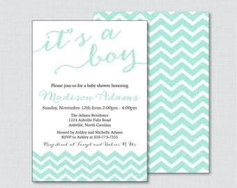 Printable Glitter Baby Shower Invitations in Aqua Blue Glitter Chevron - Blue Baby Shower Invitations, Chevron Invites - Glitter Chevron