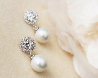 Bridal Earrings Pearl Earrings Wedding Jewelry Bridesmaid Earrings Halo Earrings Maid of Honor Gift Bridesmaid Jewelry