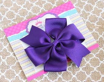 Purple Hair Bow - Simple Hair Bow - Pinwheel Hair Bow - Back to School Bows - Toddler Hair Bows - Girls Hair Bows - 4 Inch Hair Bow