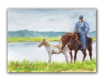 Art Original Chincoteague Pony Foal Artwork Acrylic Painting LLMartin Virginia Country Fun Saltwater Cowboy children Toddlers Moms
