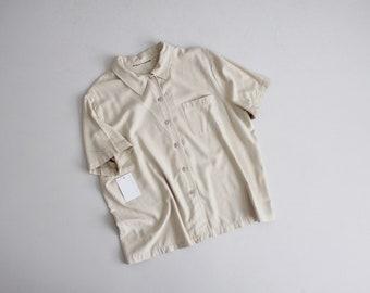 putty cream silk top | beige silk shirt | raw silk blouse