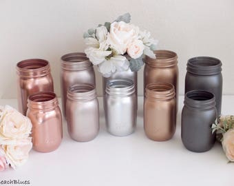 Rose Gold Decor / metallic mason jars / Blush Wedding Decor / Bouquet Holder / Vase / Reception Decor / Table Decor / Set of 10 Jars