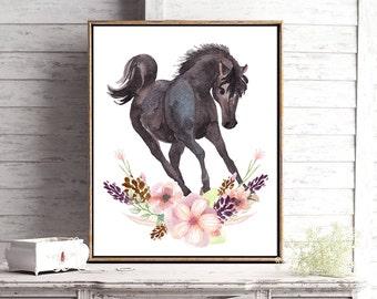 Horse print, nursery decor, printable, baby shower gift, horse lover, wildflowers, rustic decor, horse nursery theme, digital download, baby