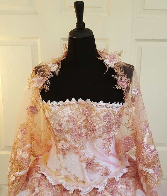 Bridal Floral Wrap Top Costume Wedding Party Cruise Embroidered Formal Club Shrug Blush Tulle Prom Pink Lace FxSwqFag