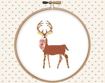 Deer cross stitch pattern pdf - deer embroidery design - animal cross stitch - forest cross stitch pattern - instant download - modern