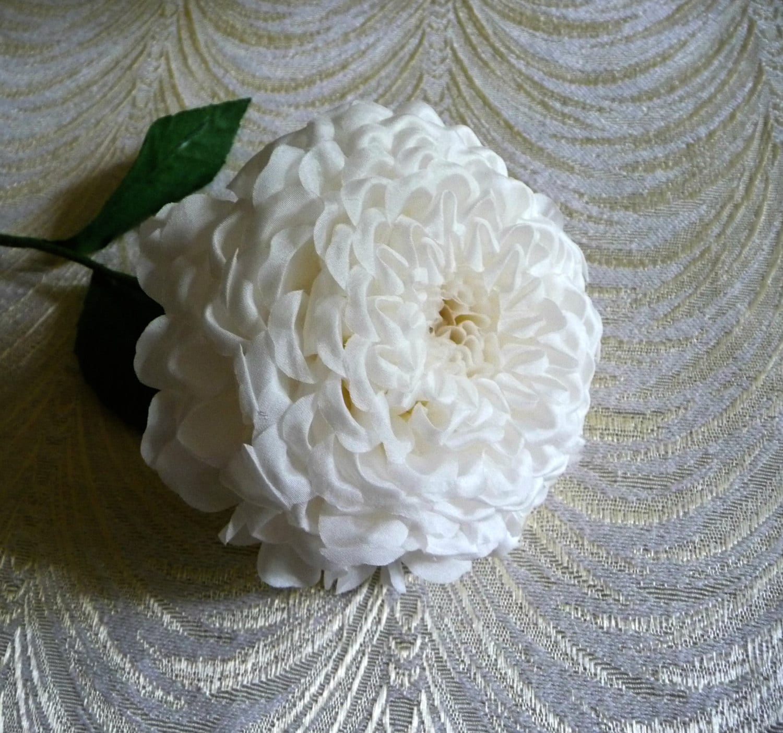 Large white dahlia pom pom silk flower nos millinery for zoom mightylinksfo