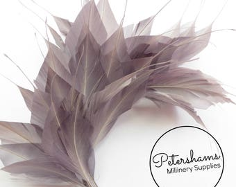 Large Spikey Goose Feather Wired Millinery Hat Mount - Pewter Grey