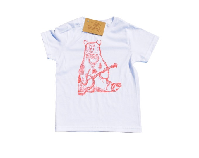 Pink Bear Girls T Shirts - Hipster Girls Clothes - Pink Banjo Bear - Bear Tees - Toddler T Shirt - Pink Shirts - Girl Toddler Tees