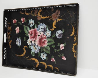 Vintage Hand Painted LARGE Floral Metal Tole Toleware Tray-Shabby Rectangle Tray